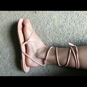 Pastel pink lace up sandals